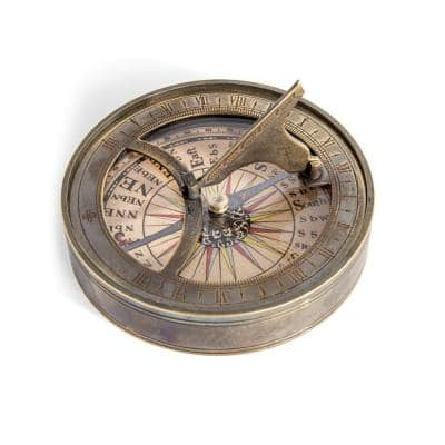 Giada 18th C. Sundial and Compass in Bronze