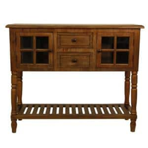 Morgan 42 in. Natural Wood Standard Rectangle Wood Console Table with Drawers