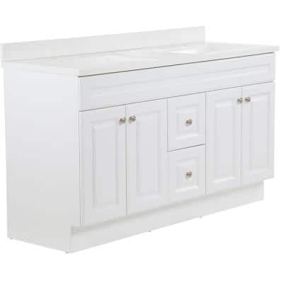 Glensford 61 in. W x 22 in. D Vanity in White with Cultured Marble Vanity Top in White with White Sinks