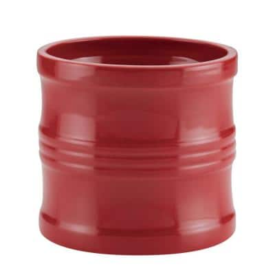 7.5 in. Red Ceramics Tool Crock with Partition Insert