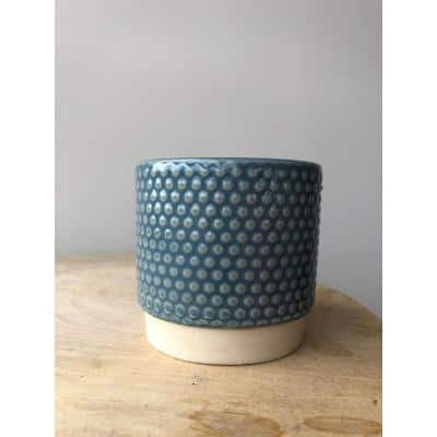 3.1 in. Dusty Blue Ceramic Enso Bubbles Planter