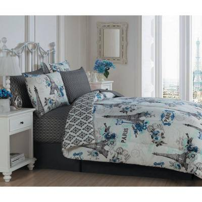 Cherie Paris Themed 8Pc King Blue Comforter Set With Sheets