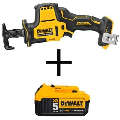 ATOMIC 20-Volt MAX Cordless Brushless Compact Reciprocating Saw with (1) 5.0Ah Battery