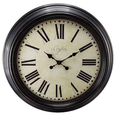 23 in. Antique Bronze Dial Quartz Analog Wall Clock with Roman Numerals