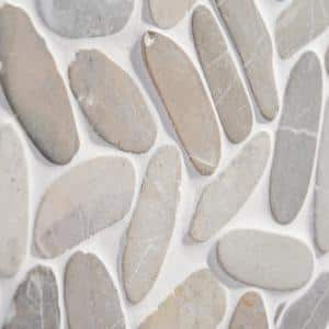 Countryside Sliced Flat Oval 11.81 in. x 11.81 in. Gray Mosaic (0.97 sq. ft. / sheet)
