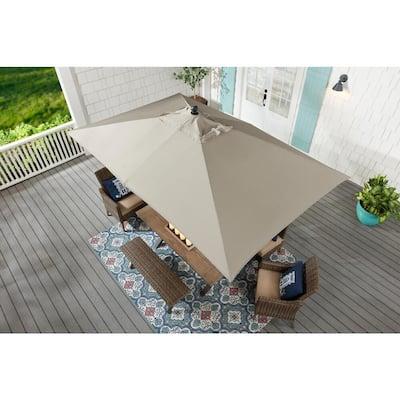 6.5 ft. x 10 ft. Aluminum Market Tilt Patio Umbrella in Riverbed
