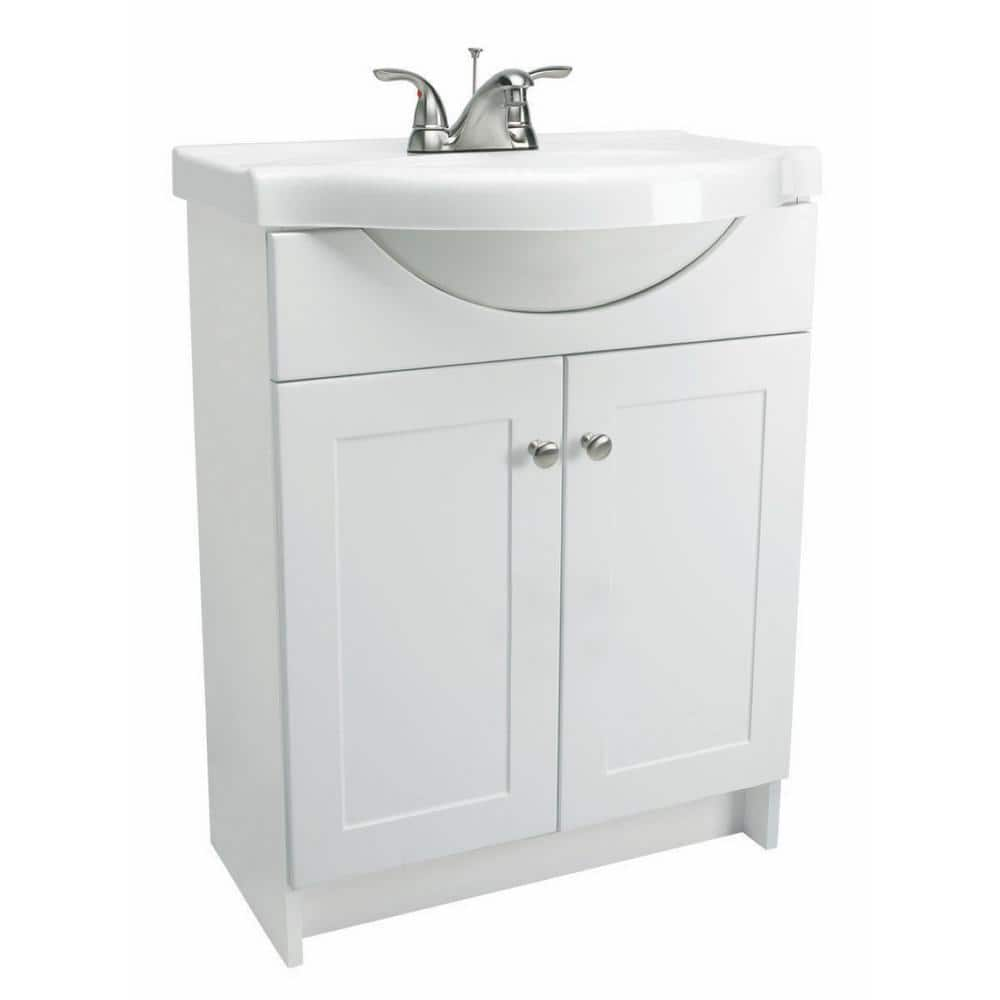 Design House Euro 31 In W X 18 In D Vanity Cabinet In White With Cultured Marble Vanity Top In White 541664 The Home Depot