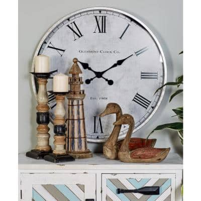 White Metal Traditional Wall Clock