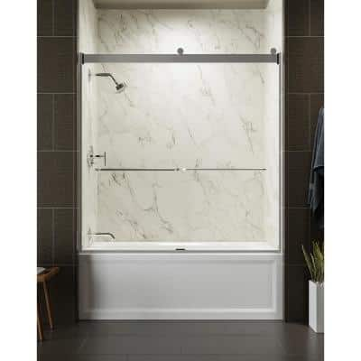 Levity 59 in. x 62 in. Semi-Frameless Sliding Tub Door in Silver frame with Handle