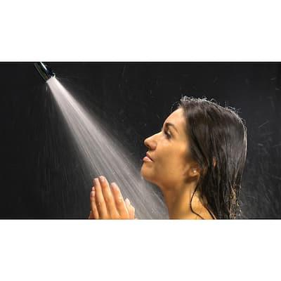 1-Spray 1 in. Single Wall Mount Waterfall Fixed Rain Shower Head in Polished Chrome