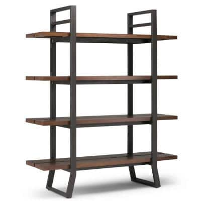 Adler 66 in. H Light Walnut Brown Metal 4-Shelf Accent Bookcase