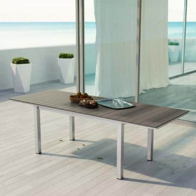 Shore Patio Wood Outdoor Dining Table in Silver Gray