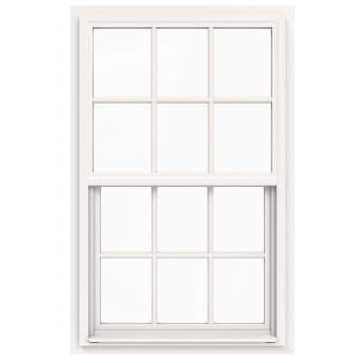 30 in. x 48 in. V-4500 Series White Single-Hung Vinyl Window with 6-Lite Colonial Grids/Grilles