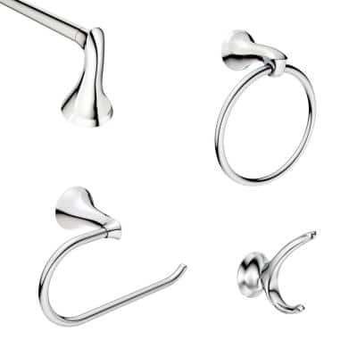 Darcy 4-Piece Press and Mark Bath Hardware Set with 18 in. Towel Bar, Towel Ring, Paper Holder and Robe Hook in Chrome