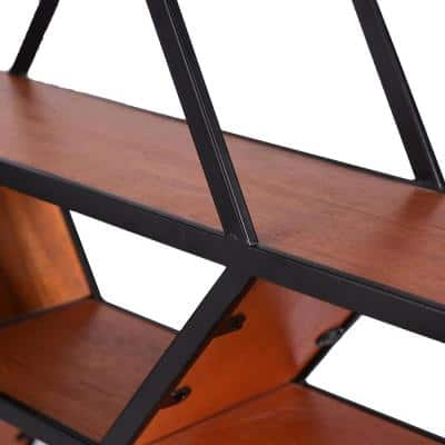18 in. H x 33 in. W x 6 in. D Hexagonal Wood and Metal Floating Shelf