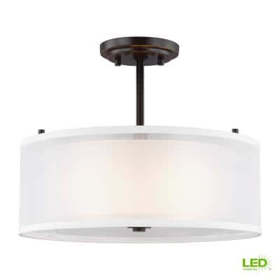 Elmwood Park 15 in. 2-Light Bronze Semi-Flush Mount with Satin Etched Glass Shade with LED Bulbs