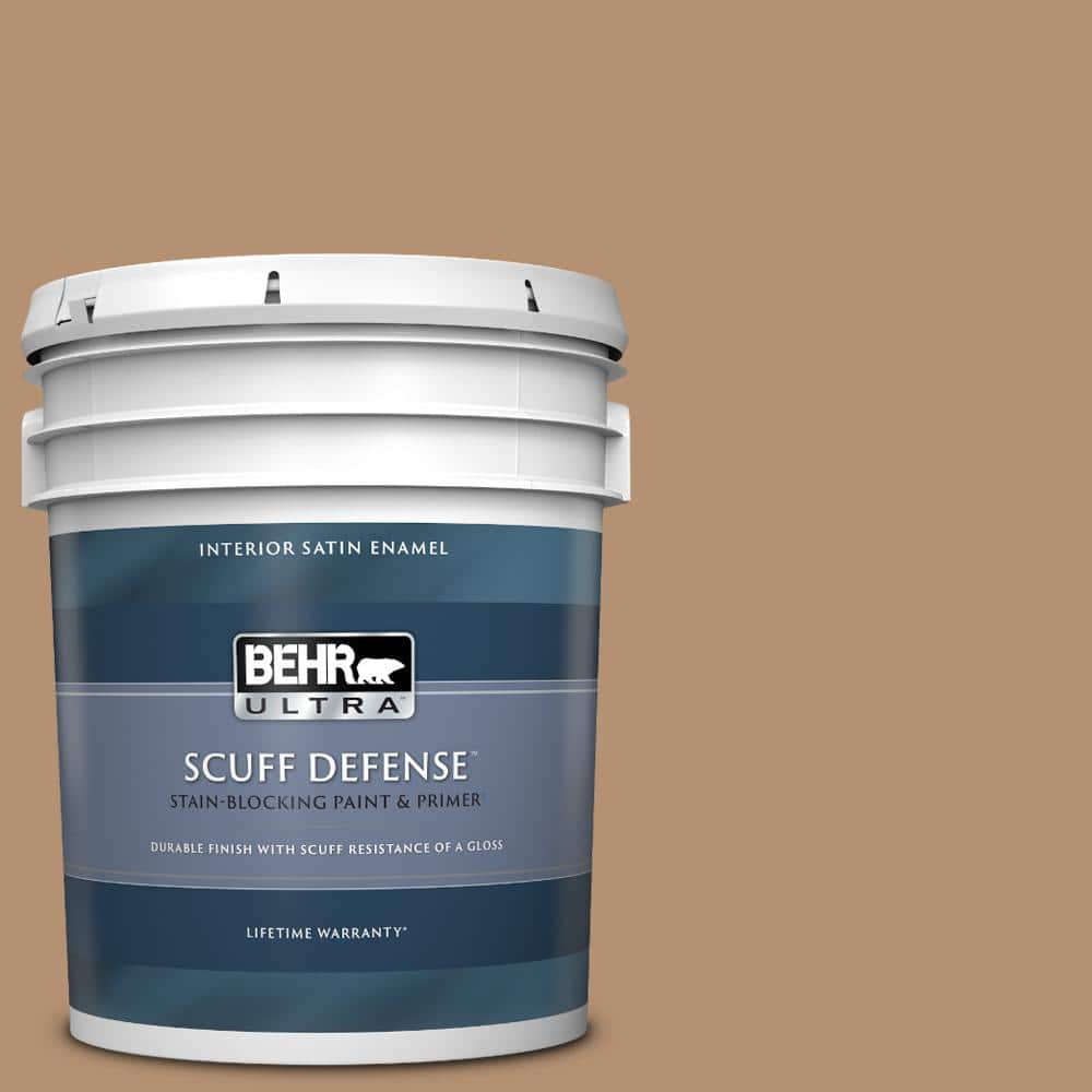 Behr Ultra 5 Gal S240 5 Poncho Extra Durable Satin Enamel Interior Paint Primer 775405 The Home Depot