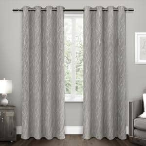 Ash Grey Floral Thermal Blackout Curtain - 52 in. W x 84 in. L (Set of 2)