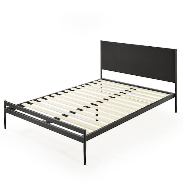 Shop Clarrisa Black King Upholstered Metal Platform Bed from Home Depot on Openhaus