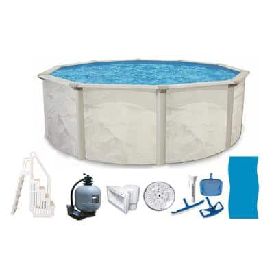 Independence 24 ft. Round 52 in. D Metal Wall Above Ground Hard Side Pool Package with Entry Step System