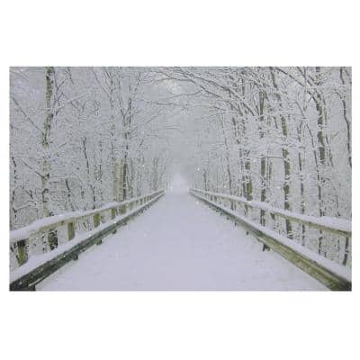 23.5 in. x 15.5 in. Large Fiber Optic Lighted Winter Wooden Bridge Canvas Wall Art
