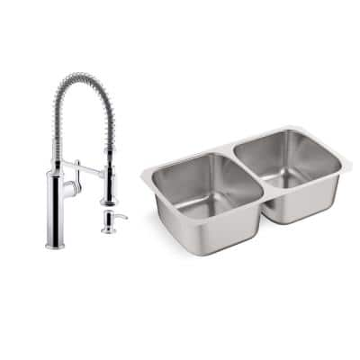 Ballad All-in-One Undermount Stainless Steel 31.5 in. Double Bowl Kitchen Sink with Sous Kitchen Faucet