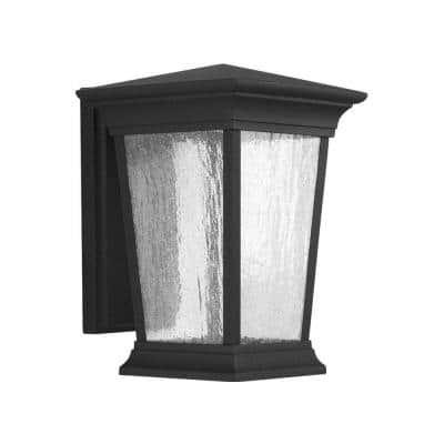 Arrive LED Collection Textured Black Clear Seeded Glass Modern Outdoor Medium Wall Lantern Light