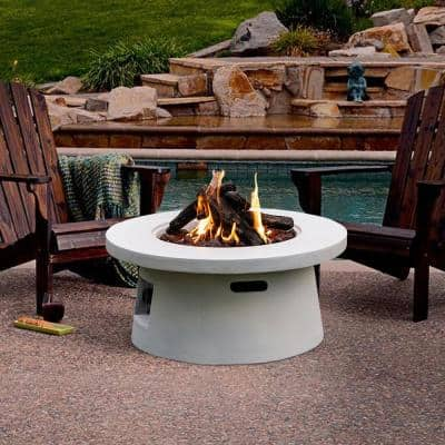 29.5 in. W x 14 in. H Outdoor Round White Gas Fire Pit with Lava Rocks