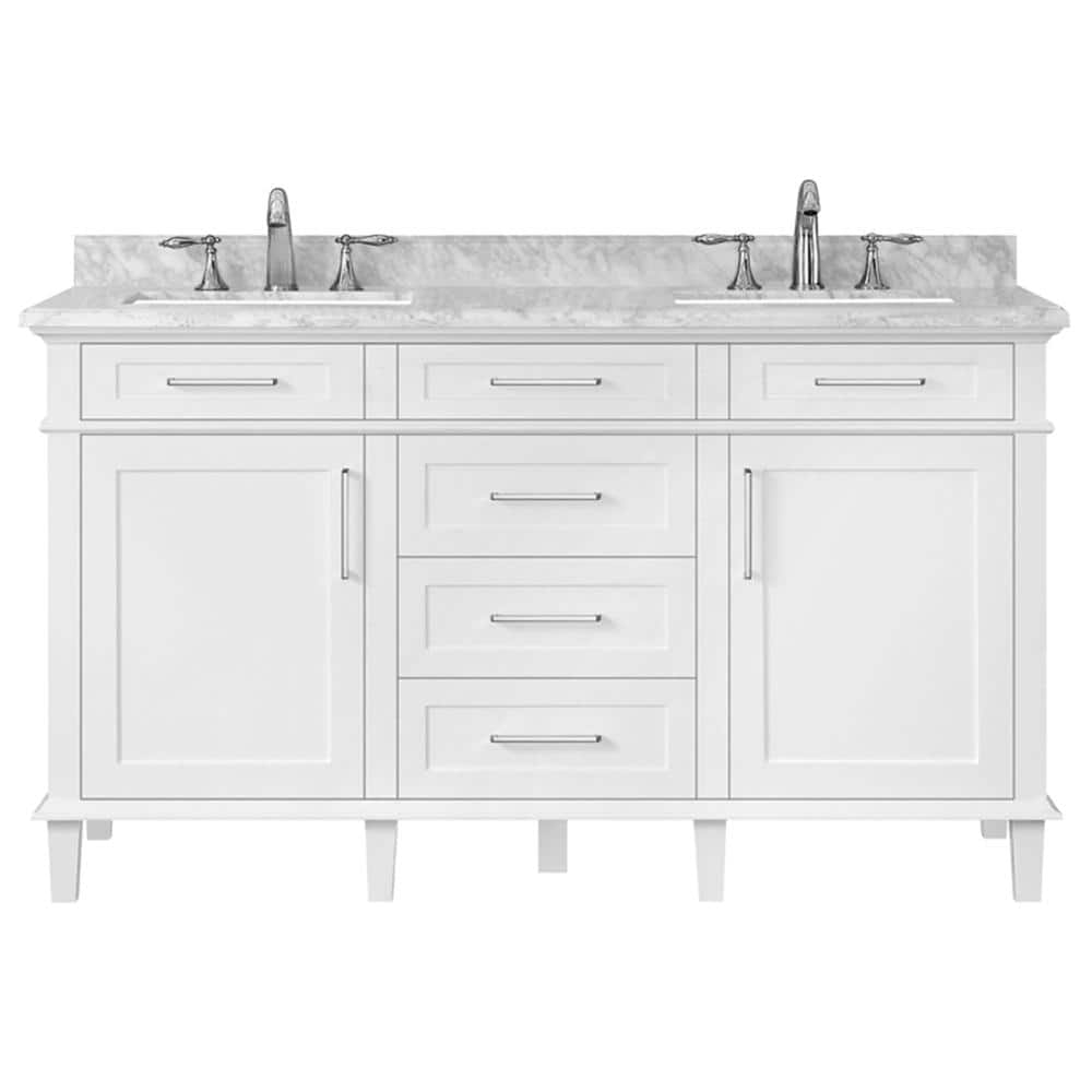 Home Decorators Collection Sonoma 60 In W X 22 In D Double Bath Vanity In White With Carrara Marble Top With White Sinks 8105300410 The Home Depot