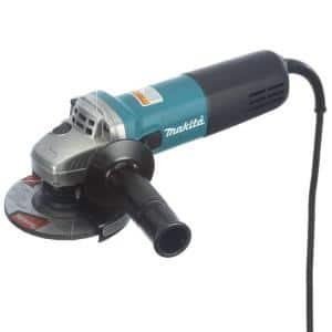 7.5 Amp Corded 4-1/2 in. Easy Wheel Change Compact Angle Grinder with Grinding Wheel, Wheel Guard and Side Handle