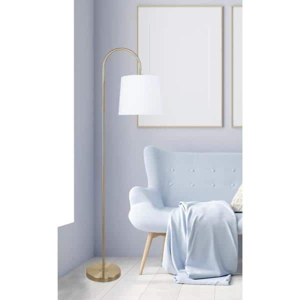 Grandview Gallery 62 In Antique Soft Brass Floor Lamp With Slim Line Arched Design And Off White Linen Shade Sf90406d The Home Depot