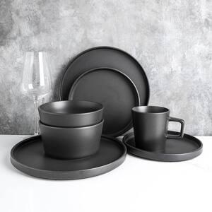 32-Piece Modern Black Matte Stoneware Dinnerware Set (Set for 8)