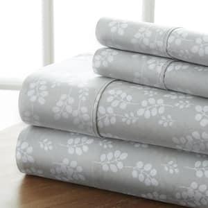 4-Piece Gray Floral Microfiber Queen Sheet Set