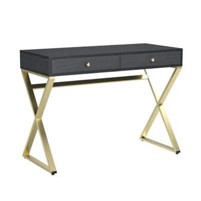 Amelia 31 in. Black And Brass Particle Board Desk