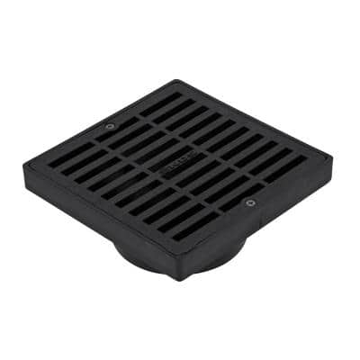 6 in. Plastic Square Drainage Grate with Adapter in Black