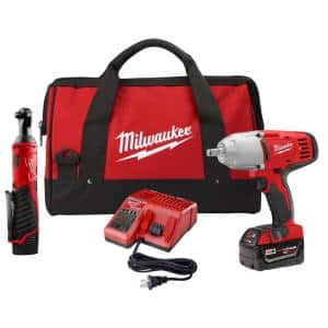 M18/M12 12/18-Volt Lithium-Ion Cordless 3/8 in. Ratchet and 1/2 in. Impact Wrench with Friction Ring Combo Kit