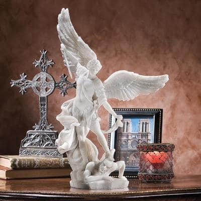15 in. H St. Michael the Archangel Bonded Marble Angel Statue