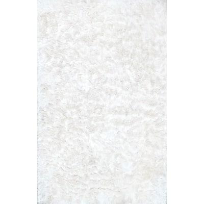 Latonia Silken Shag Pearl White 2 ft. x 3 ft. Indoor Area Rug