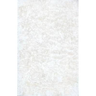 Latonia Silken Shag Pearl White 3 ft. x 5 ft.  Area Rug