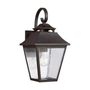 Galena 1-Light Sable Outdoor Wall Mount Lantern Sconce with Clear Seeded Glass