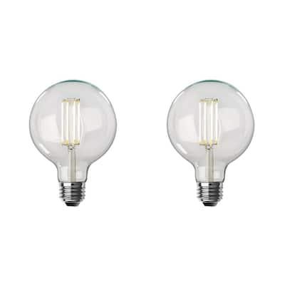 100-Watt Equivalent G40 Dimmable LED Clear Glass Vintage Straight Filament Edison Light Bulb Soft White (2-Pack)
