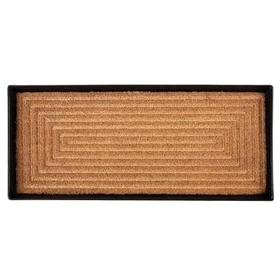 34.5 in. x 14 in. x 1.5 in. Black Metal Boot Tray with Rectangle Embossed Coir Insert