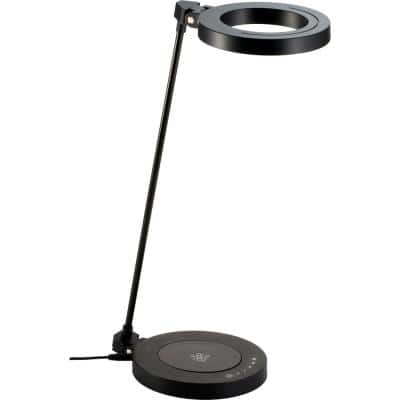 AirEnergy 20 in. LED Touch Dimmer Black Desk Lamp with WPC Qi Certified Wireless Charging Base