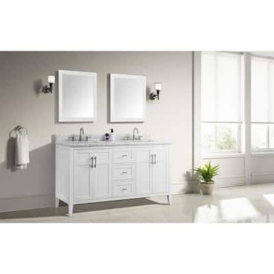 Sturgess 61 in. W x 22 in. D Bath Vanity in White with Marble Vanity Top in Carrara White with White Basins