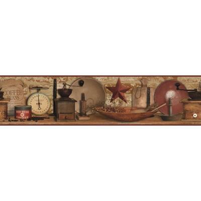Country Keepsakes Country Coffee red/brown, red, brown, black, beige, ecru Wallpaper Border