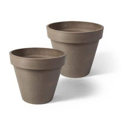 Valencia 10 in. x 8 in. Round Taupe Banded Plastic Planter (2-Pack)