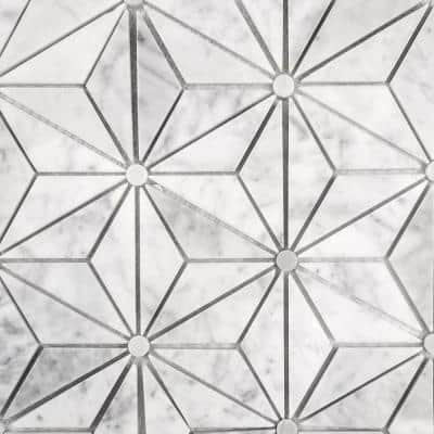 Tuscany Calacatta White Triangle 12 in. x 14 in. Glossy Marble Decorative Mosaic Wall Tile (5.83 sq.ft/Case)