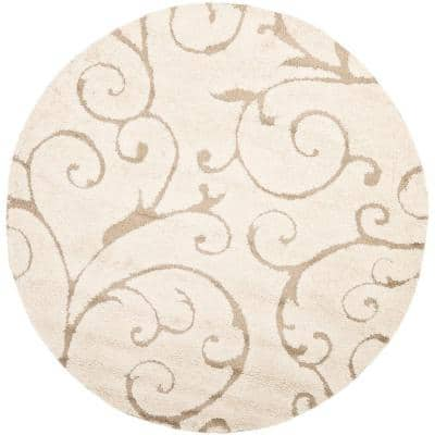 Florida Shag Cream/Beige 7 ft. x 7 ft. Round Floral High-Low Area Rug