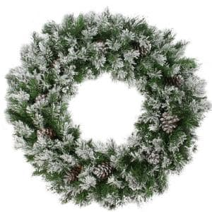 36 in. Flocked Angel Pine with Pine Cones Artificial Christmas Wreath