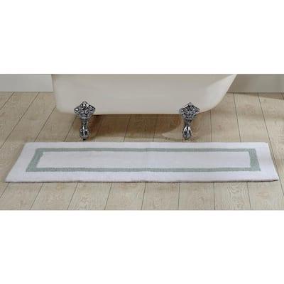 "Hotel Collection White/Blue 20"" x 60"" 100% Cotton Bath Rug"